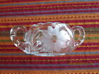 2 handled etched crystal flower pattern sugar bowl