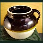 Large Heavy Pickle Crock 3 Quart Handle Jar Jug = Brown / Tan Stoneware