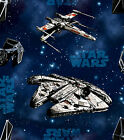 Fabric Star Wars Space Ships Fighters Night Sky Blue 100% Cotton Quilt 1 Yard