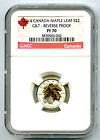 2014 $2 CANADA SILVER MAPLE LEAF GILT GOLD NGC PF70 UCAM REVERSE PROOF 1/10 OZ