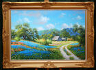 Handmade Oil Painting Landscape Texas Bluebonnets on Canvas 24X36 Inch