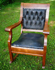 1800's Antique Oak Rocking Chair with Original Tufted Leather.