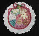 Fitz and Floyd Christmas Quilt Cookies for Santa Plate Ceramic Hand-painted