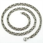 5MM 22 INCH Silver Tone Byzantine Box Stainless Steel Necklace Mens Boys Chain