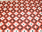 1 FQ Red Rooster Quilt Fabric Red with White and Black Diamond Grid