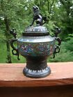 JAPANESE CLOISONNE BRONZE LIDDED JAR WITH FOO DOG TOP AND PARROT HANDLES