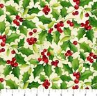 CARDINAL CHRISTMAS HOLLY  BERRIES ON NATURAL FABRIC NORTHCOTT