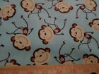 Monkey Tossed Blue Timeless Treasures fabric 5 yd yards 44x180 Kidz cotton B