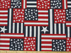 Packed Flag Allover Fabric 3 yd 108x44 blue red white star cotton stripe patriot