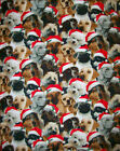 A DOGS AT CHRISTMAS PACKED FLEECE FABRIC BY THE YARD BY PATTY REED