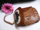 NEW WOMEN SMALL WILD OWL BROWN PURSE SMALL COIN BAG KEY CHAIN GENUINE LEATHER