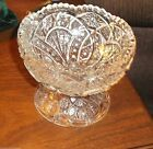 crystal footed candy bowl compote sawtooth edge 3 1/2