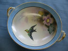 Noritake Morimura Handpainted Pedestal Bowl Blue with Bird & Flowers Gold Rim