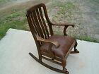 Antique 1800's Oak Rocking Chair with Curvy Legs
