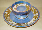 Noritake Two Piece Chip/Dip Blue Iridescent Lustre Gold Moriage Bird of Paradise