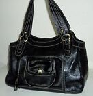Perlina Black Shiny Patent Leather Hobo Purse Handbag Bag
