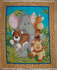 A JUNGLE BABIES ANIMALS COTTON FABRIC PANEL BY PATTY REED