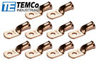 """10 Lot 2 AWG Ring 1/4"""" Hole Terminal Lug Bare Copper Uninsulated Gauge"""