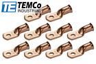 """10 Lot 1 AWG Ring 1/4"""" Hole Terminal Lug Bare Copper Uninsulated Gauge"""