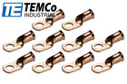 """10 Lot 1 AWG Ring 3/8"""" Hole Terminal Lug Bare Copper Uninsulated Gauge"""