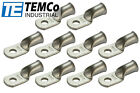 """10 Lot 2 AWG Ring 1/4"""" Hole Terminal Lug Tin Plated Copper Uninsulated Gauge"""
