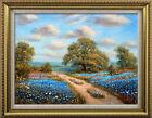 Oil painting Texas Bluebonnets Landscape on canvas 12x16 inches