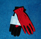 WOMENS RED & BLACK CLASSIC ISOTONER CONTOURS STRETCH WINTER DRIVING GLOVES NWT