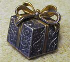 Vintage Best Gift Box, Present Brooch, Pin or Pendant, Silver-tone & Gold-tone