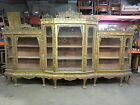 14 ' Antique Chinese Chippendale Gold Gilt Chinoiserie Break Front China Cabinet