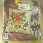 ERICA WILSON TROPICAL FRUIT VINTAGE CREWEL EMBROIDERY KIT #6922 MOD PILLOW 1969