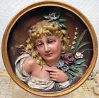 BRADLEY & HUBBARD CAST IRON PLAQUE PAINTED GIRL IN RELIEF C-1880