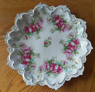 Vintage M.Z. Austria Scalloped Plate/Dish/Shallow Bowl w/Pink Flowers 12.5