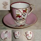 60yr Fen Toi China OCCUPIED JAPAN PINK & WHITE RED GRAY BLUE GOLD FLORAL C&S vgc