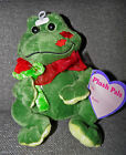 Green Frog Plush Pals Red Kissing Lips On Cheek with Rose Stuffed Animal Cute