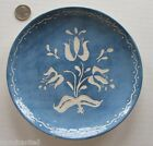 vintage Handmade Glazed Pottery Dish SGRAFFITO blue and white FOLK ART