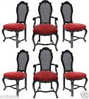 SET 6 ITALIAN HOLLYWOOD REGENCY VENETIAN ROCOCO CARVED CANED BACK DINING CHAIRS