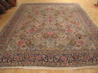 c1960s AUTHENTIC 100% WOOL ANTIQUE GARDEN DESIGN PERSIAN KERMAN RUG 10.0x13.6