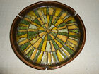 Vintage L Kitchel California Pottery Heavy Round Crushed Glass Ashtray Colorful