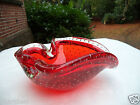VINTAGE  RED CLEAR BUBBLES  MURANO ART GLASS MID CENTURY BOWL DISH