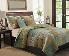 NEW GREENS BLUES YELLOW BROWNS+MORE~PAISLEY LG RVRS QUEEN/FULL SIZE QUILT+2SHAMS