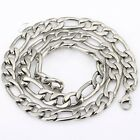 9MM 20 INCH Silver Tone Figaro Mens Boys Chain Stainless Steel Necklace