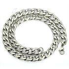 11MM 22 INCH HUGE Silver Tone Curb Cuban Stainless Steel Necklace Boy Mens Chain