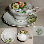 60yr Hand Painted OCCUPIED JAPAN pink yellow w/gold FLORAL cup -saucer no damage