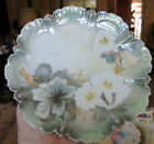 R.S. Prussia Wreath/Star Mark Plate 1905-1910 Green Luster White Flowers 7