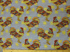 Rooster Stars Fabric Remnant 56x44 blue red white cotton patriot Leslie Beck