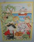 Bazoople Pirates Baby Quilt Wall Hanging 5 Panel Fabric elephant giraffe parrot