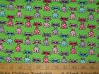 Cats w Glasses Fabric END BOLT Remnant 120x44 green purple pink COTTON quilting