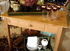 VINTAGE WASHED PINE KITCHEN TABLE w/DRAWER 1920'S-30'S