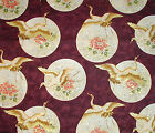 TAZU ASIAN CRANES & FLORAL BURGUNDY FABRIC by ANNA FISHKIN for RED ROOSTER 1 yd