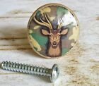 Handmade Deer Camo Birch Wood Knob Drawer Pull, 1 1/4